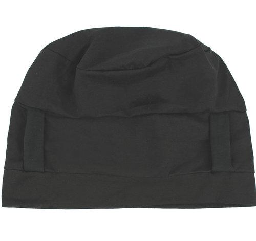 Prachtige twee-delige chemo set van zwarte jersey stretch beanie en sjaal dierprint print bruin