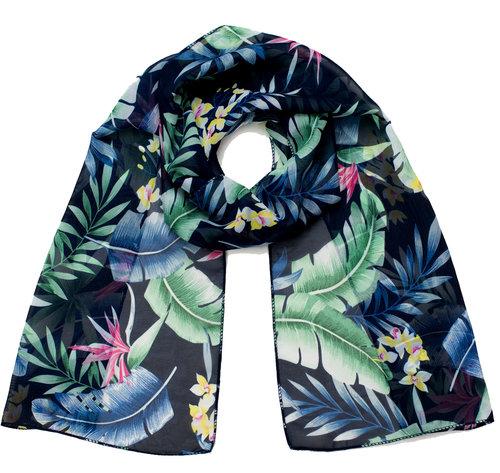 Prachtige twee-delige chemo set van zwarte jersey stretch beanie en sjaal bloemen bladeren print blauw