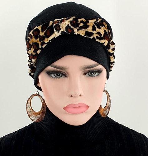 Set van chemo beanie zwarte chemomuts en hoofdband velvet dierprint luipaard zwart / bruin