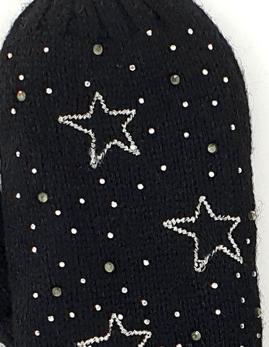 Warme gevoerde zwarte wanten dames kleur zwart met sterren en strass maat M/L