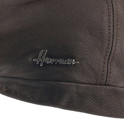 Herman Headwear Duke leren flatcap met oorflappen kleur bruin
