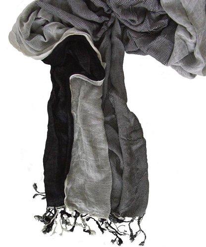 Heren lange zomersjaal van viscose kleur zwart met wit 180 x 36 cm