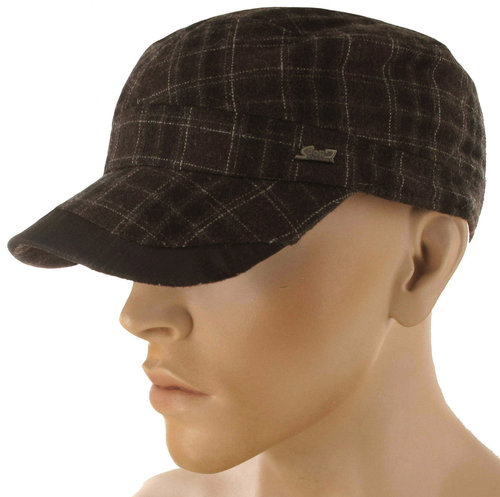 Winterse zwart met bruine Army cadet cap met oorflappen