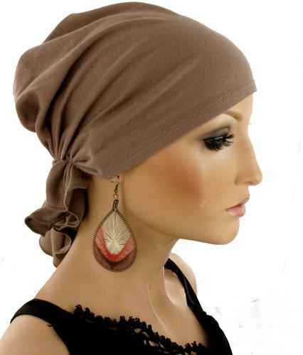 Chemo muts hoofddoekje in Mokkabruine kleur