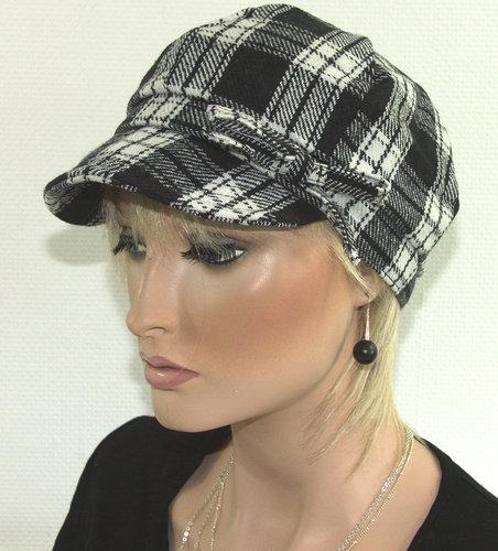 Dames baretje met ruit kleur zwart wit