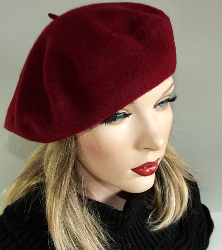 Major Franse baret kleur bordeaux rood met wolmerk!