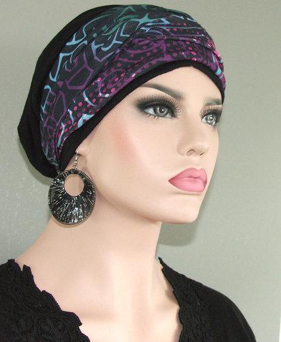 Chemo beanie kleur zwart met hoofdband fantasieprint
