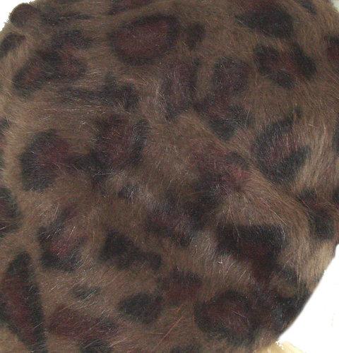 Mooie wollen franse damesbaret alpino pet in luipaard print