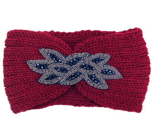 Rode gebreide hoofdband met strass versiering