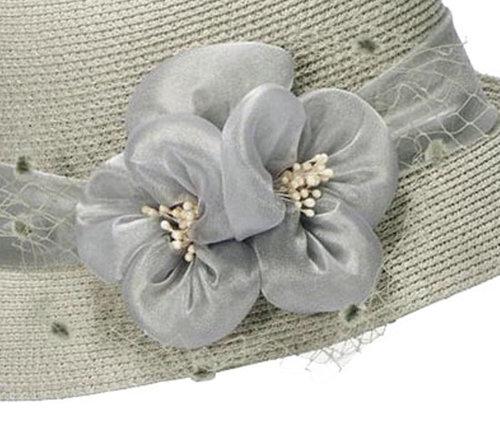 Cloche jaren 20 style van toyostro kleur grijs met bloemversiering met netje