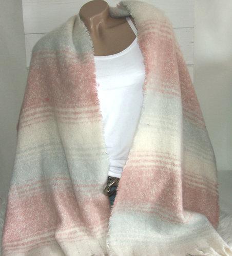 Warme winter damessjaal oudroze grijs offwhite
