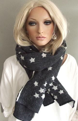 Heerlijk warme wintersjaal met sterren kleur antraciet