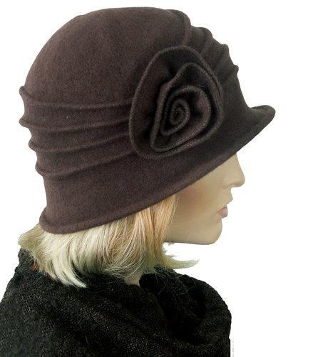 JEDDA donkerbruin Elegant wollen hoedje in cloche model met bloem