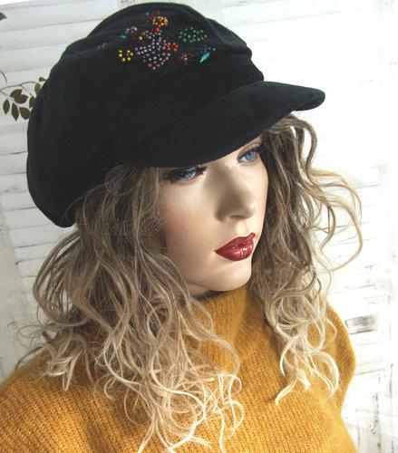 Winterpet ballonmuts baret met klepje zwarte fluweel stof