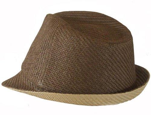 Aanbieding! Strohoedje trilby model kleur bruin