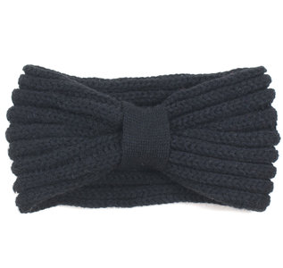art of polo gebreide hoofdband zwart dames acryl winter