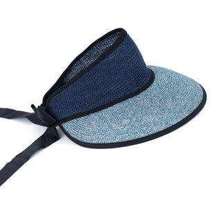 zonneklep breed papierstro blauw brede rand