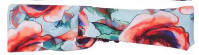 Losse gedraaide hoofdband met rozen print kleur lichtblauw