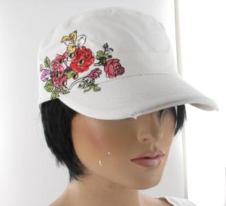 cadet cap bloemen wit