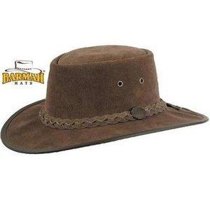 Australische hoed leren hoed suede hoed barmah bruin