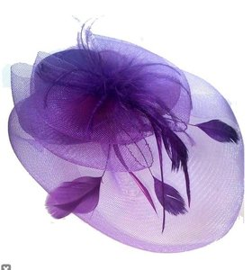 mini hoedje paars sluier