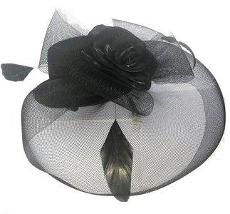 mini hoedje sluier zwart fascinator