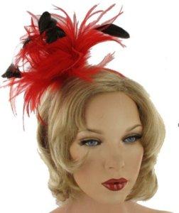 haarbeugel veren rood zwart haarversiering