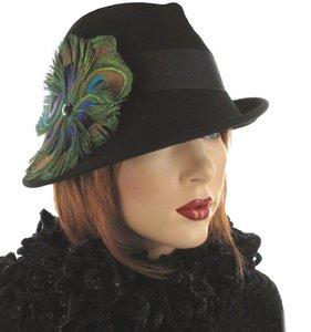 hoed hoedje zwart pauwenveer
