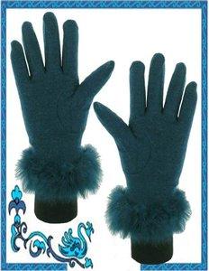 handschoenen dames petrol turquoise bont
