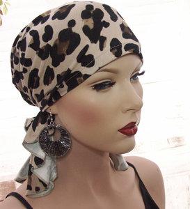 chemo haarverlies alopezie bandana hoofddoek luipaard