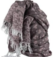 sjaal franjes hartjes roze lila taupe