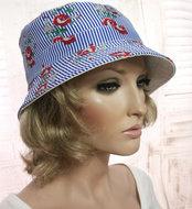 bucket hoedje zomerhoed zomer hoed gestreept blauw
