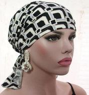 bandana hoofddoekje zwart wit print