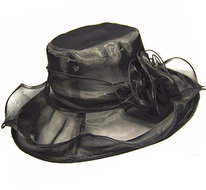 dames organza hoed zwart