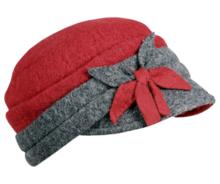 fiebig damesbaret rood grijs winter 52866