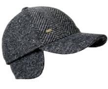 fiebig pet met oorflappen visgraat zwart grijs winter heren pet cap