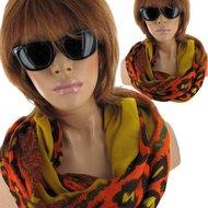 rondsjaal sjaal zomersjaal oranje geel luipaard