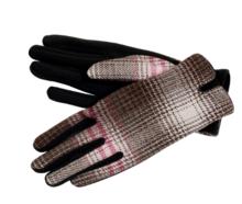 fiebig dameshandschoenen ruit zwart bruin roze petrol