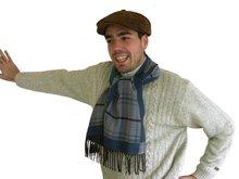 herensjaal sjaal heren blauw grijs geblokt