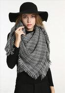 sjaal dames winter wintersjaal ruitje zwart